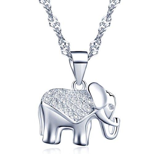 Yumilok- Moda Collares con Colgante Brillantes Circonitas Elefante Plata de Ley 925 (Plata, Plata)