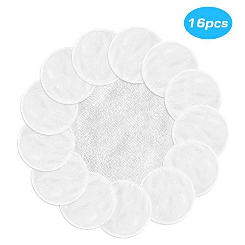 MASCARRY Almohadillas desmaquilladoras reutilizables con lavadero, 16 paquetes de toallitas de tela de algodón de bambú suaves lavables para el cuidado de la piel facial (blanco)