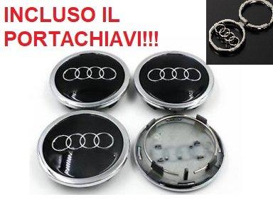 4 Tappi Coprimozzo AUDI 69mm A3 A4 A5 A6 TT RS4 Q5 Q7 S4 A8 Cerchi Lega Borchie