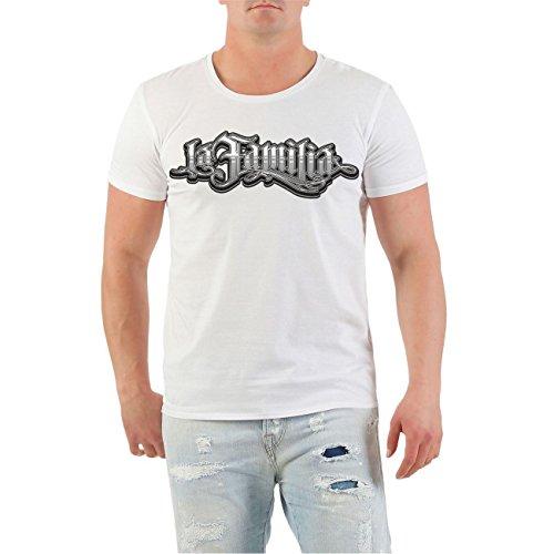 Männer und Herren T-Shirt La Familia Judge Me (mit Rückendruck) Größe S - 8XL Körperbetont weiß