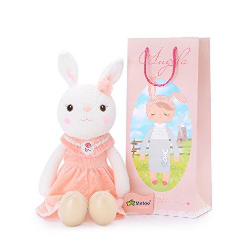 Metoo Klassischer Stil Kaninchen Plüschpuppe Puppe für Baby und kleine Mädchen Geburtstagsgeschenk für Kinder (Rosa Kaninchen)