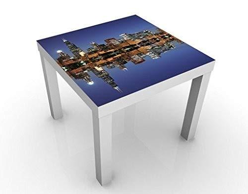 Chicago Beistelltisch (Apalis Design Tisch Chicago Reflection 55x55x45cm Beistelltisch Couchtisch Motiv-Tisch, Tischfarbe:Weiss;Größe:55 x 55 x 45cm)