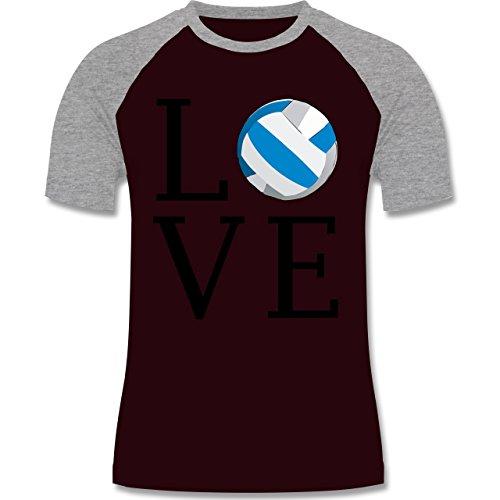 Volleyball - Love Volleyball - zweifarbiges Baseballshirt für Männer Burgundrot/Grau meliert
