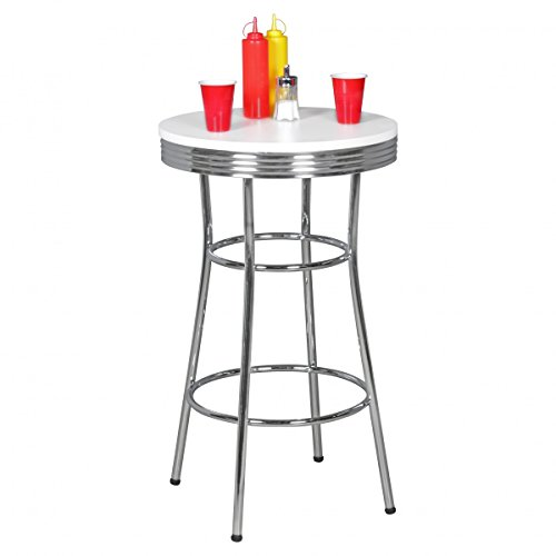 Home Collection24 Table de Bar Ronde Elvis American Diner en Bois MDF & Table sur Pied en Aluminium Design Table de fête Retro USA Table de bistrot Ø 60 cm