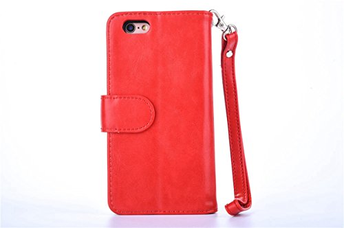 CaseforYou Hülle iPhone 7 Schutz Portemonnaie Schalen Taschen Magnetic Detachable Wallet Case Flip Cover Protective Shell Hülse mit Closure Schutzhülle für iPhone 7 Handy (White) Rot