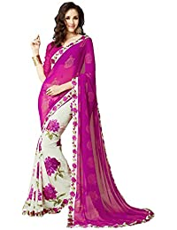 Macube Women's Georgette Saree With Blouse Piece (Ms42_01, Pink, Free Size)