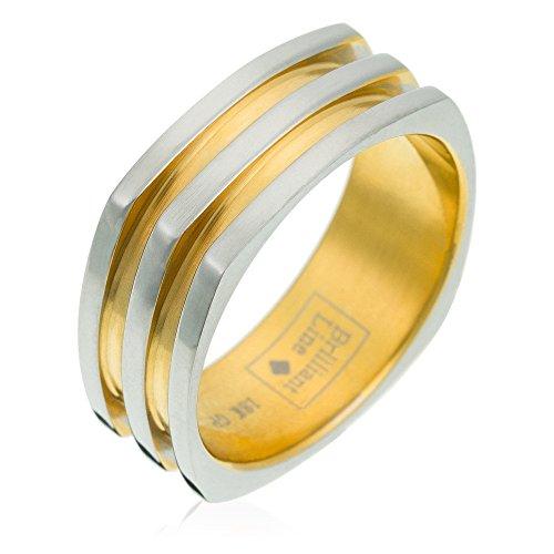 Orphelia unisex Stainless Steel Ring Bicolor 18 Karat Vergoldet Gr.53 RSG-037/53