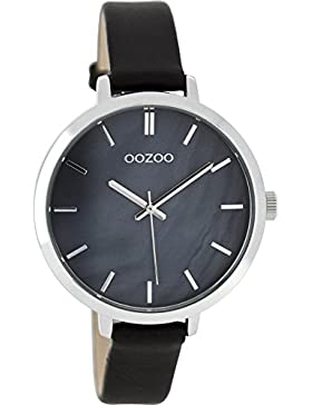 Oozoo Damenuhr mit Lederband 38 MM Perlmutt/Schwarz C8359