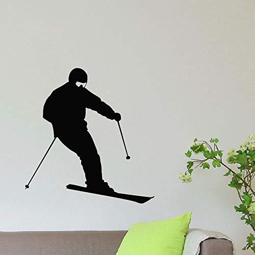 zqyjhkou Wintersport Wandaufkleber Gym Mädchen Skifahren Wandtattoo Soprts Stil Dekoration Skifahrer Sport Wandkunst Wand Ski Sport Ay698 42x44 cm
