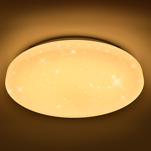 Preisvergleich Produktbild VINGO® 16W LED Deckenleuchte Warmweiß LED Starlight-Effekt Rund 2700K-3000K, 340*81 Kinderzimmer Deckenbeleuchtung