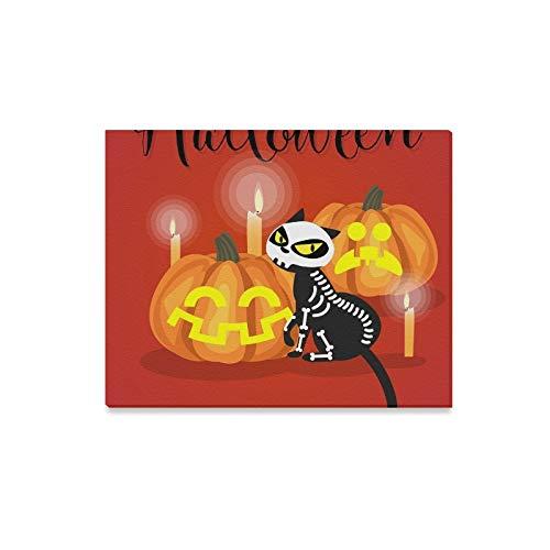 Box Kätzchen Kostüm - JOCHUAN Wandkunst Malerei Halloween Kätzchen Skeleton Kostüm Halloween Drucke Auf Leinwand Das Bild Landschaft Bilder Öl Für Zuhause Moderne Dekoration Druck Dekor Für Wohnzimmer