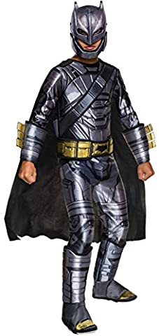 """Batman v Superman Costume, Kids Deluxe Batman Armored Outfit, Medium, Age 5 - 7, HEIGHT 4' 2"""" - 4'"""