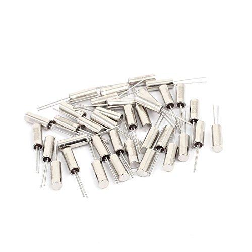 DealMux 35 pc 3 mm x 8 mm 32.768 K Hz cylindrique de cristal de quartz Oscillateur du ton d'argent