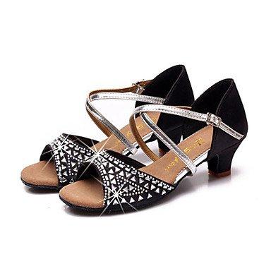 Frauen Tanzschuhe Leder Leder Latein / Modern Sneakers Chunky Ferse Praxis Fuchsia
