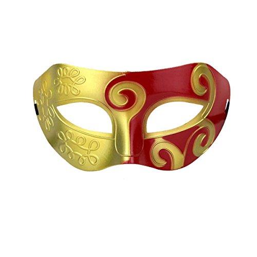 Halloween Maske Retro Alten Gold Und Silber Männer Halbgesicht Jazz Maske,Red-L