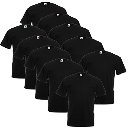 10er Pack Valueweight Fruit of the Loom T-Shirt Größe S - 5XL T-Shirts in vielen Farben XXXL / 3XL,schwarz (3xl Xxxl T-shirt)