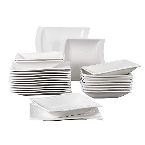 MALACASA, Serie Flora, Cremeweiß Porzellan Tafelservice 24 TLG. Set Kombiservice Geschirrset mit je 12 Speiseteller und 12 Suppenteller für 12 Personen 12 Teller Set