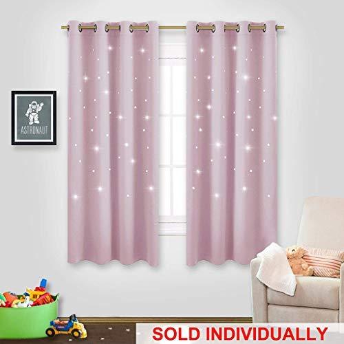 nicetown Platz inspiriert Night Sky Twinkle Star Kid Kinderzimmer Vorhang, Creative Kinderzimmer Blackout Fenster Vorhänge für Schlafzimmer, Textil, babyrosa, 1 Panel | L63 -