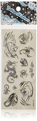Sourcingmap multiple animals pattern noctilucent temporary tattoos seal, black
