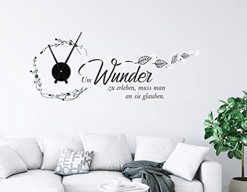 tjapalo® pkm506 Wanduhr Wohnzimmer Wandtattoo Uhr mit Uhrwerk Wandsprüche Um Wunder zu erleben muss man an sie glauben, Größe: B100xH39cm (+Uhrwerk schwarz), Farbe: schwarz