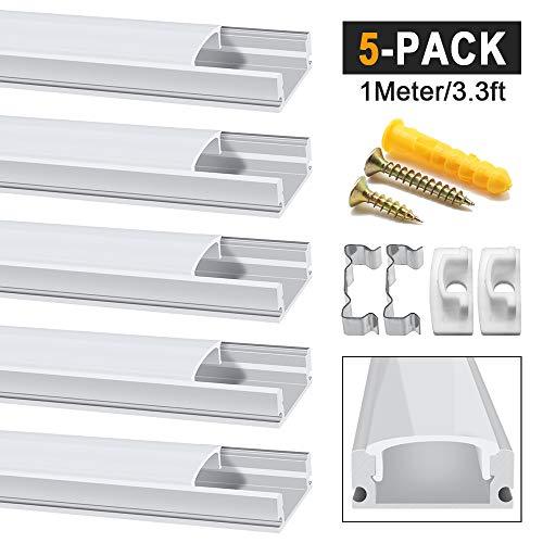 Chesbung LED Aluminium Profil 1m, 5er Pack in U-Form für LED-Strips/Band bis 12 mm) inkl. Abdeckungen in milchig-weiß, Endkappen, und Montagematerial - Led-aluminium-montage-kanal