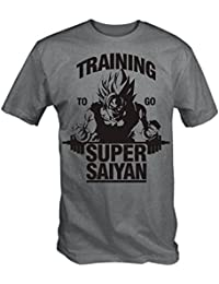 "T-shirt Gris Imprimé ""Training to go Super Saiyan"" - Tailles S-XXL"
