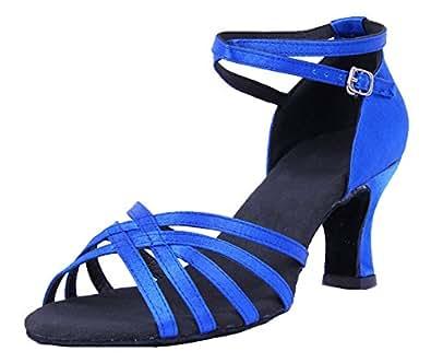 Honeystore Damen's Einfarbig Riemen Satin Tanzschuhe Blau 34 EU