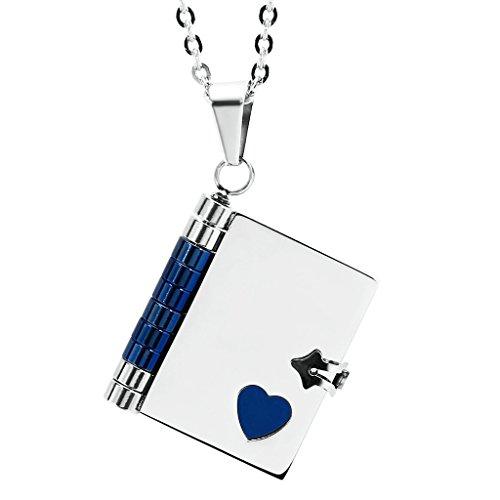 """AnazoZ Mode Bijoux Pendentif en acier inoxydable """"Love étages"""" livre Pendentif Collier pour Femme Choisissez Couleur Blue(Big)"""