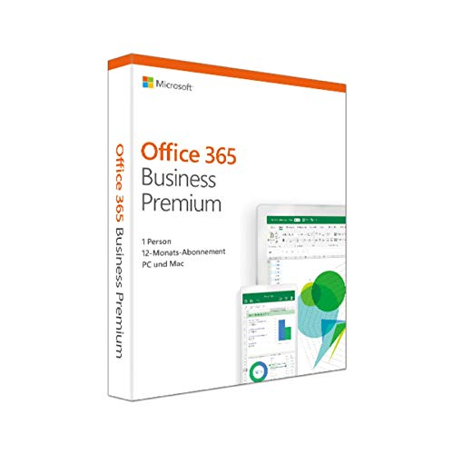 Microsoft Office 365 Business Premium multilingual  | 1 Nutzer | 5 PCs /Macs, 5 Tablets, 5 mobile Geräte | 1 Jahresabonnement | Box (365 Microsoft Office Software)