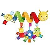 Moneycom La poussette d'insecte d'arc-en-ciel d'enfants de bébé et les jouets accrochants de spirale de lit Spiral Activity Hanging Toys Poussette Panier Seat Landau Jouet avec Sonner Cloche Jaune