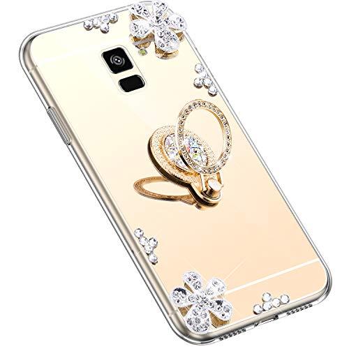 Uposao Kompatibel mit Samsung Galaxy A8 Plus 2018 Hülle Silikon Spiegel Handyhülle Schutzhülle mit 360 Grad Ring Ständer Glitzer Kristall Strass Diamant Mädchen Handy Tasche Silikon Hülle Case,Gold
