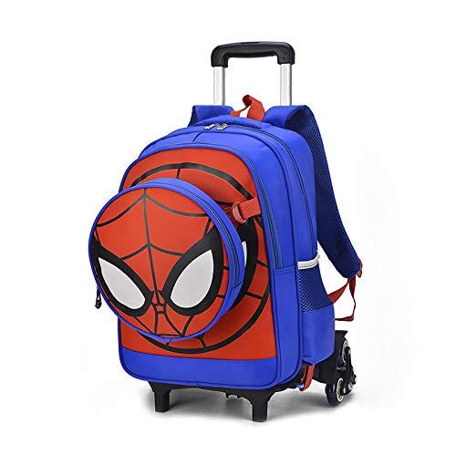 QAZZ Rucksack Spider-Man Koffer, Cartoon-Tasche, Studentententasche, Treppen, Rollen, Gepäck, Iron Man, Kinder-Reiserucksack, Schultertasche, 6 Rundungen