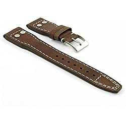 DASSARI Dynasty Vintage Leather Watch Strap for IWC Big Pilot in Brown 21mm