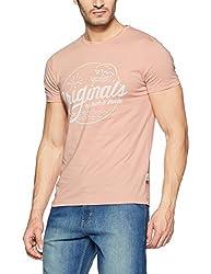 Jack & Jones Mens T-Shirt (5713617908472_12127956Peach Beige_XX-Large)