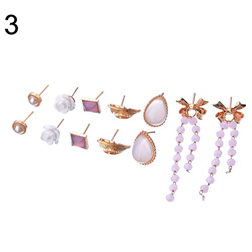 Fashion Women Flower Heart Rhinestone Faux Pearl Women Ear Stud Earrings Set -