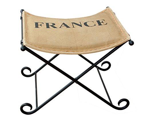 Hocker aus Metall mit FRANCE Schriftzug - Schemel Sitzhocker Fußhocker Fußbank Fußschemel - Frankreich 51x45x45cm