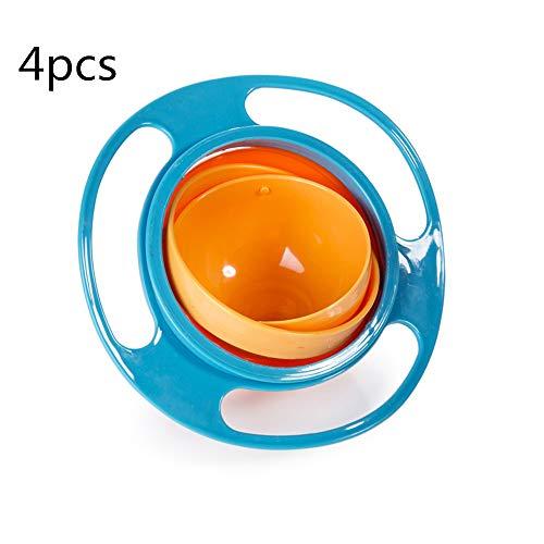 KEZIO Lustige Kinder Kind Baby Spielzeug 360 Drehen Spill-Proof Schüssel Gerichte Mit Deckel (4 stücke) Kochutensilien (Farbe : Blau) -