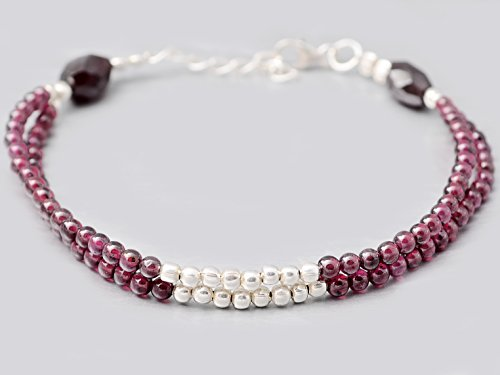 Multi Strand dunkel-rosa Granat Perlen Armband mit 925 Sterling Silber Erkenntnisse 6.50