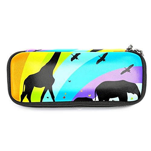 TIZORAX - Estuche para lápices con diseño de jirafa y elefantes en...