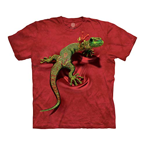 Peace Out Tee (The Mountain Unisex-Erwachsene Peace Out Gecko T-Shirt, rot, Medium)