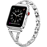 PUGO TOP Reemplazo de Correa para Apple Watch Serie 4 40mm/44mm iWatch Series 3 2 1 38mm 42mm, Banda de Metal Ajustable con Diamantes de imitación para iWatch (38mm/40mm, Plata)