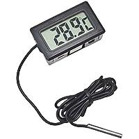 JVJ Termometro digitale LCD Monitor di temperatura con sonda esterna Per piccolo freezer frigorifero Aquarium - Nero