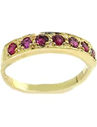 14K Yellow Gold Ladies 7 Stone Ruby Eternity Band Ring