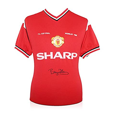 Bryan Robson Signed Manchester United 1985 FA Cup Winners Football Shirt