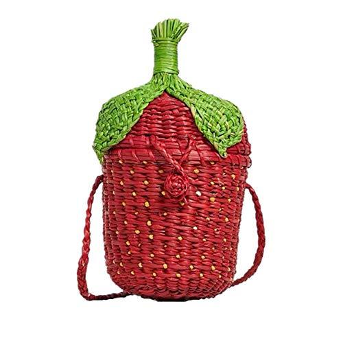 Frauen Rattan Crossbody Bucket Bag, Erdbeerform gewebt Umhängetasche, Böhmen Vintage Stroh gewebt Mädchen Hasenohren dekorative Handtasche Messenger Bag für Damen -
