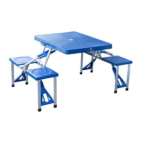 Outsunny® Alu Campingtisch Picknick Bank Sitzgruppe Gartentisch Buffettisch mit 4 Sitzen klappbar Blau - Alle Aluminium-sitzbank
