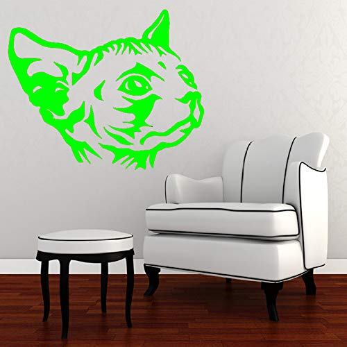 Wandtattoo Sphynx Katze Kreative Katze Kopf Vinyl Wandaufkleber Freies Verschiffen Wandbild Home Room Spezielle Tiere Kunst grün 60X67 CM
