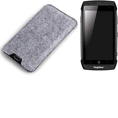 K-S-Trade Filz Schutz Hülle für Ruggear RG730 Schutzhülle Filztasche Filz Tasche Case Sleeve Handyhülle Filzhülle grau