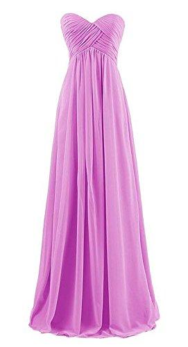 Arrowhunt Damen Chiffon Lange Elegant Bandeau Party Kleider Brautjungfernkleid mit Zurückreißverschluss lila 1