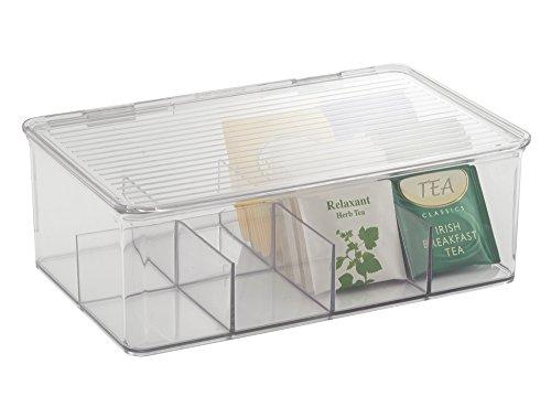 Mdesign scatola da tè - contenitore tisane e the in plastica trasparente - scatola porta bustine the con coperchio e 8 scomparti - trasparente